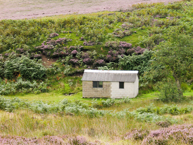 Shooting hut beside Loftshaw Gill.