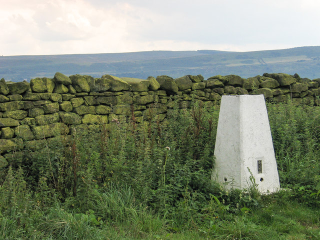 Trig point beside dry stone wall