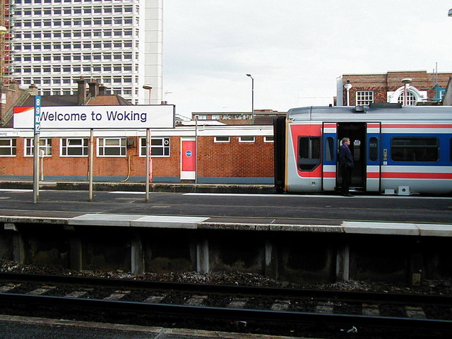 Waiting for the right of way at Woking