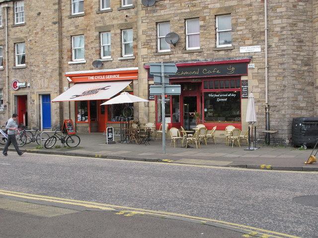 Cafe and cycle shop, West Richmond Street, Edinburgh