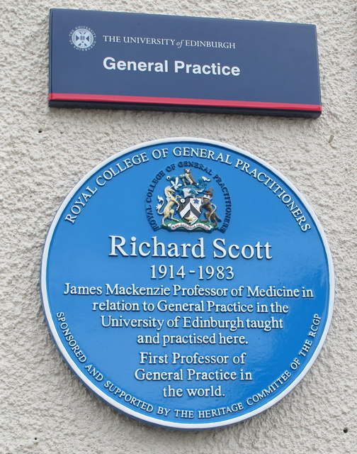Plaque for Richard Scott, first Professor of General Practice in the world