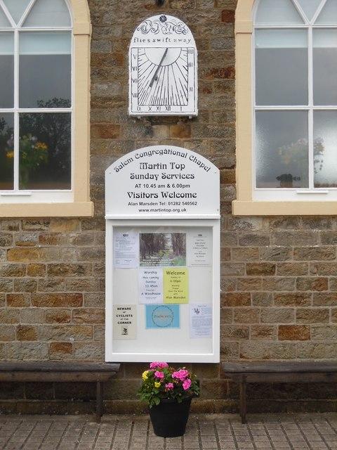 Noticeboard and Sundial at Salem Congregational Chapel, Martin Top