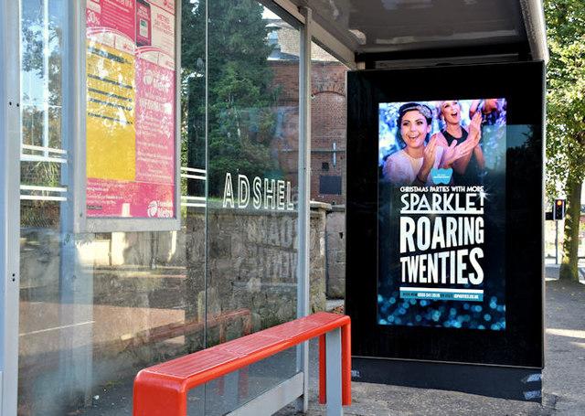 Digital bus shelter advertising, Strandtown, Belfast - September 2017(1)