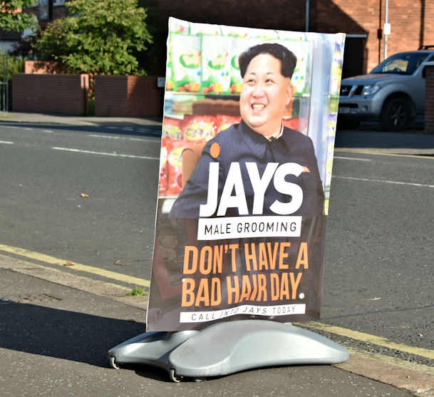 Kim Jong-un advertisement, Belfast (September 2017)