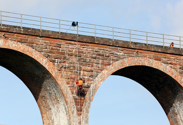 Maintenance workers at Leaderfoot Viaduct