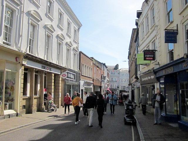 High Street Barnstaple HSBC Bank on Left