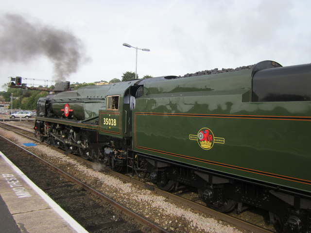 35028 Clan Line Waiting For The Off Exeter St Davids Station