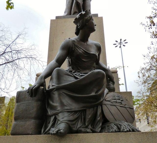 Peel statue: left side figure