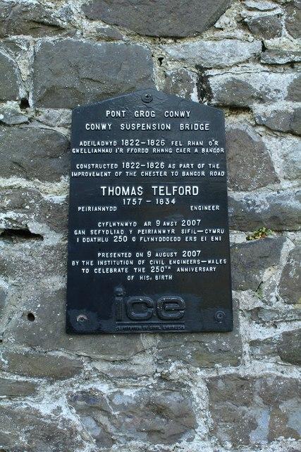 Commemorative plaque for Thomas Telford