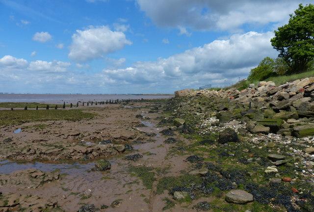 Muddy shoreline at Kilnsea