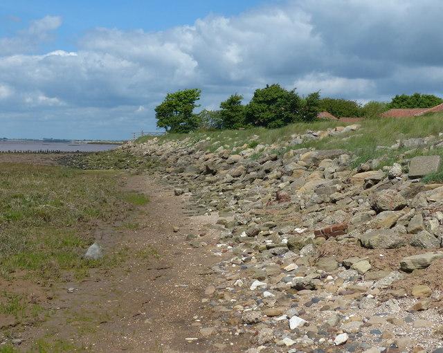 Rocky shoreline at Kilnsea