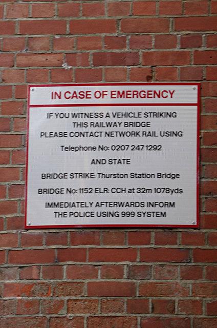 Thurston Station Bridge sign on New Road