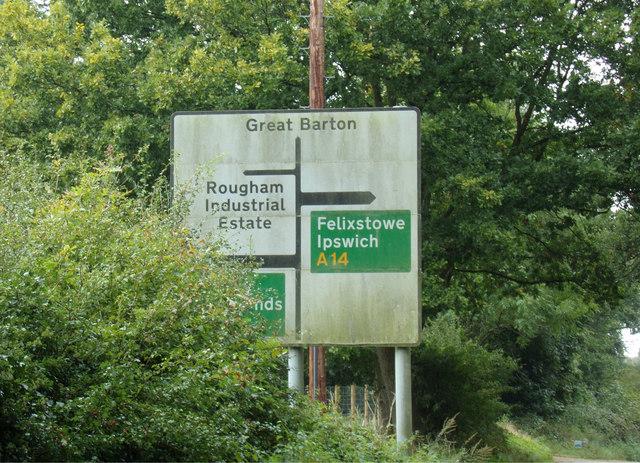 Roadsign on Blackthorpe Road