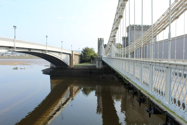 Three bridges spanning the Afon Conwy