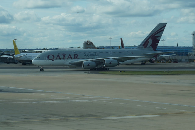 Qatar Airways A380 lands at Heathrow