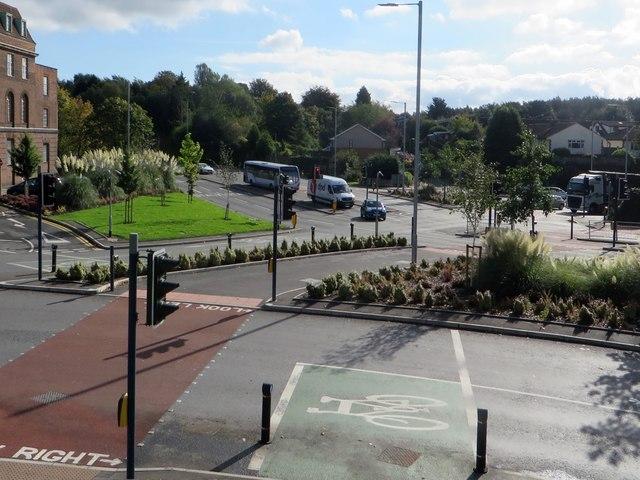 Road junction in Ashton-under-Lyne