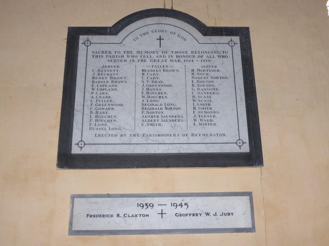 St Peter, Reymerston: memorial (ii)