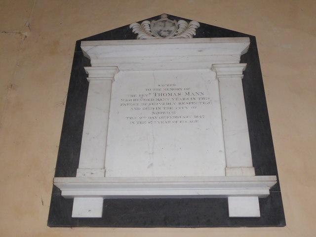 St Peter, Reymerston: memorial (iv)