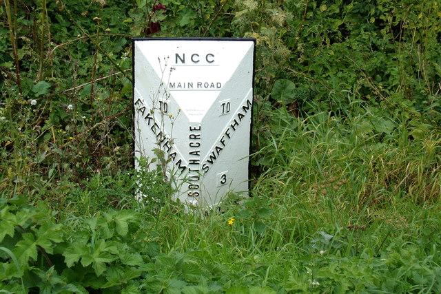 Milestone on the A1065 Main Road at Bartholomew's Hills