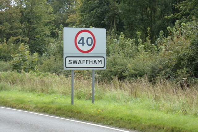 Swaffham Town Name sign on the A1065 Castle Acre Road