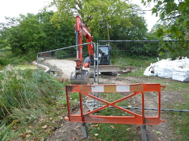 An excavator in Croome Park