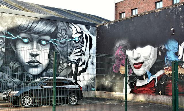 Street art, Academy Exchange site, Belfast - September 2017(1)