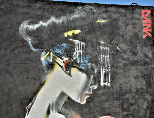 Street art, Academy Exchange site, Belfast - September 2017(2)