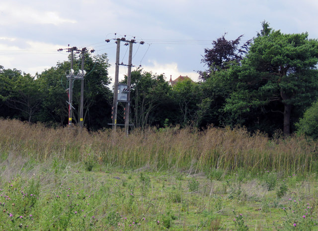 Electricity poles by A1 near Stotfield