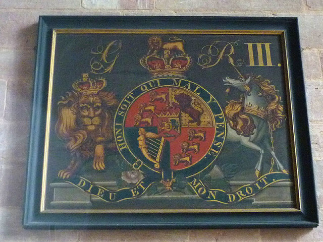 Royal coat of arms, St Peters Church, Field Broughton