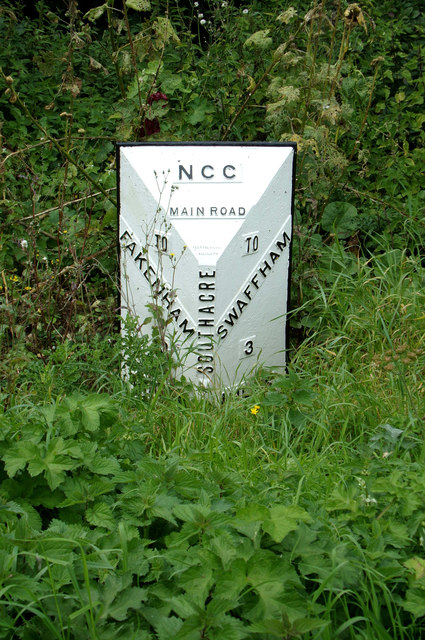 Milestone on the A1065 Main Road at Bartholomew's Hills