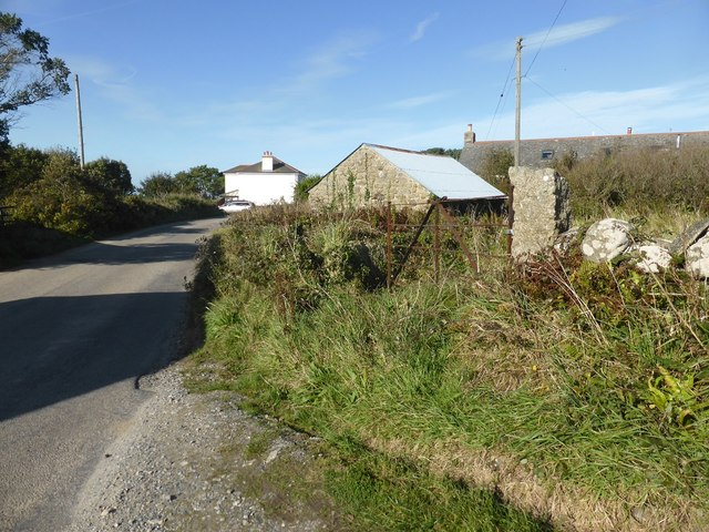 Farm buildings on the B3306 at Boswednack
