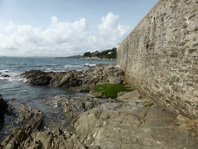 Looking towards Castle Point from rocks below the St Mawes seawall
