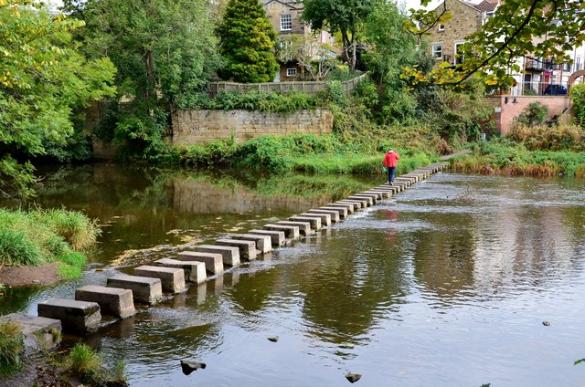 Stepping stones across the River Wansbeck, Morpeth