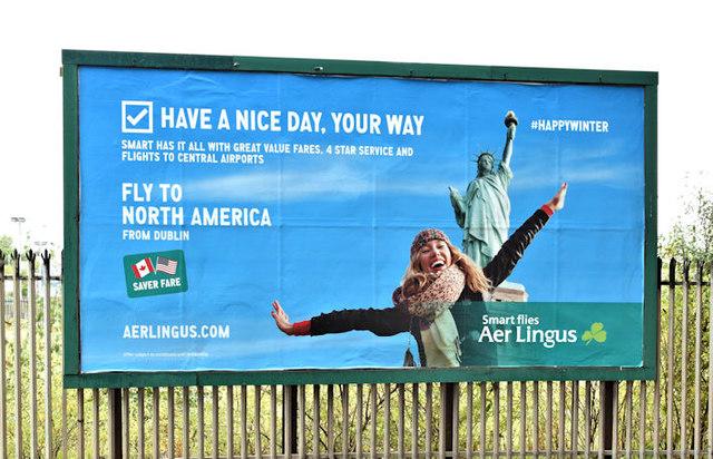 "Aer Lingus ""North America"" poster, Belfast (October 2017)"