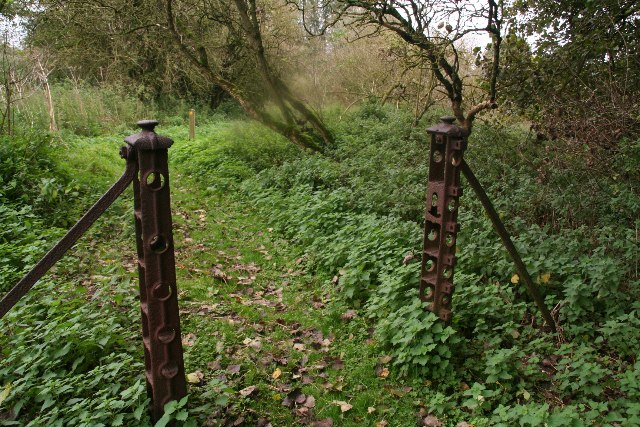 Old iron gate posts on a footpath from Worlaby to Middlegate Lane
