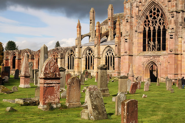 Melrose Abbey and graveyard
