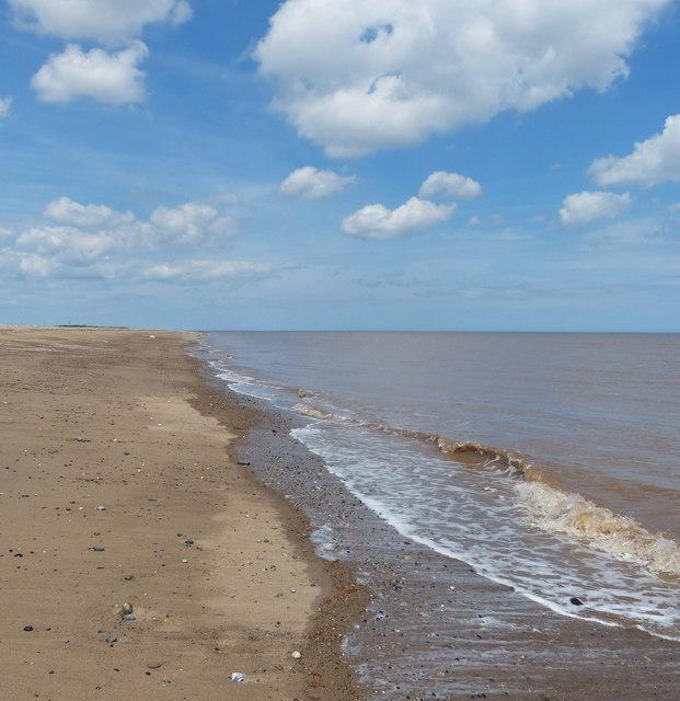 North Sea shoreline at Kilnsea Warren