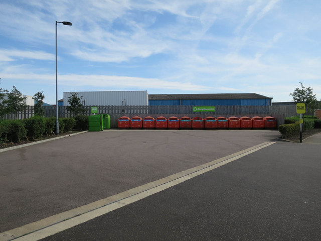 Recycling point by Sainsbury's