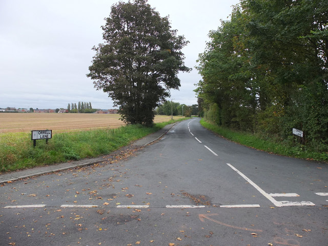 Orrell Lane at the junction with Crab Tree Lane, Burscough
