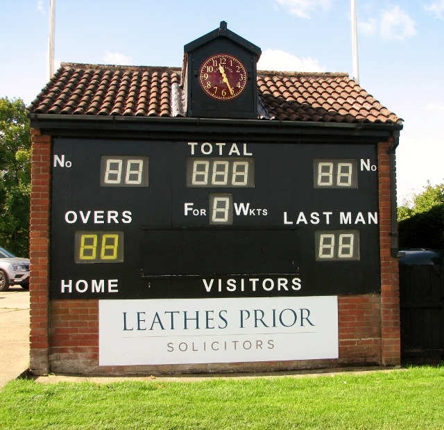 Scoreboard by the bowling green on Swardeston Common