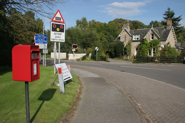 Invercairn House, level crossing and postbox