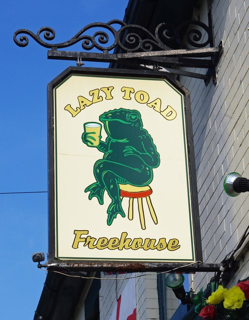 Lazy Toad (2) - sign, 14 Ashton Hill Lane, Droylsden