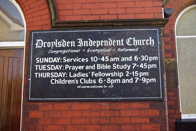 Droylsden Independent Church (2) - sign, 28 Ashton Hill Lane, Droylsden