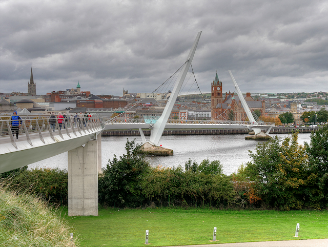 Derry Guildhall and Peace Bridge