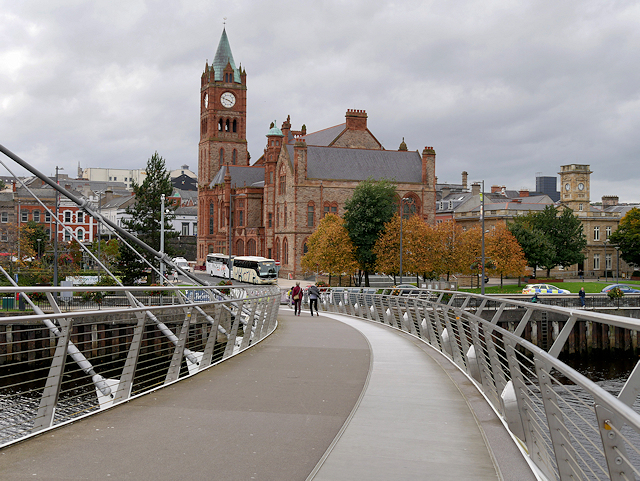 Derry Guildhall viewed from the Peace Bridge