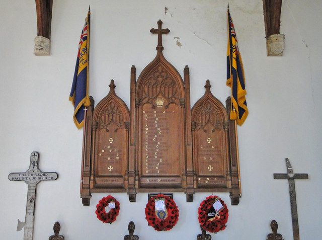 Ashill War Memorial with battlefield crosses