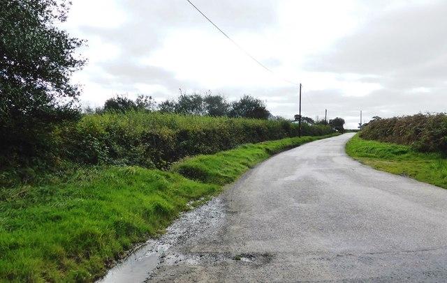 Minor road to Halwill at Beara Cross