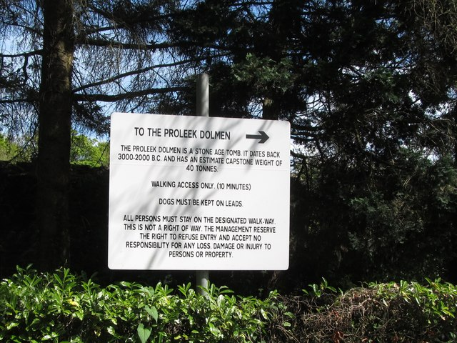 Notice to visitors to the state owned Proleek Dolmen