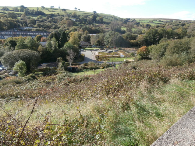 Looking down on the Welsh National and Universal Mining Memorial Garden, from High St, Senghenydd