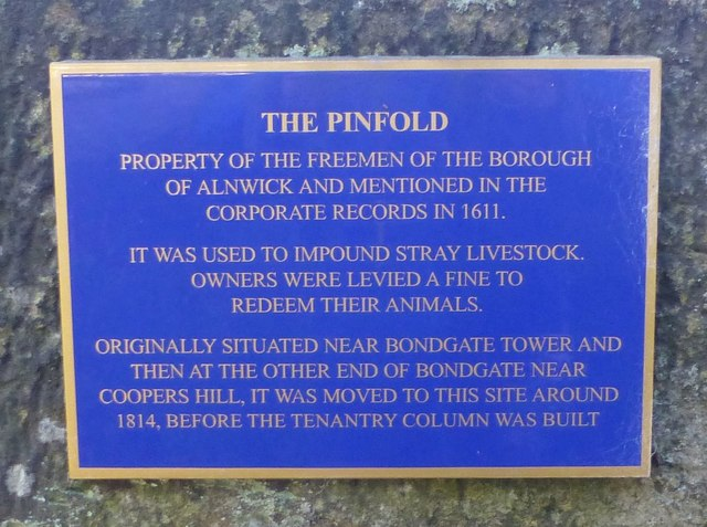 Plaque on Alnwick Pinfold